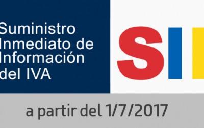 El 1 de Julio comienza el SII (Suministro Inmediato de Información) del IVA